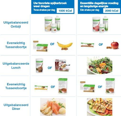 gezonde voeding afvallen schema